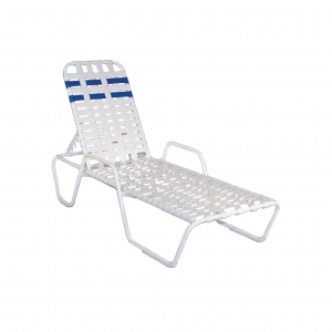 Belize Cross Strapped Chaise Lounge W/ Arms