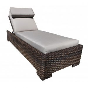 Louvre Wicker Deep Seating Chaise Lounge with Wheels