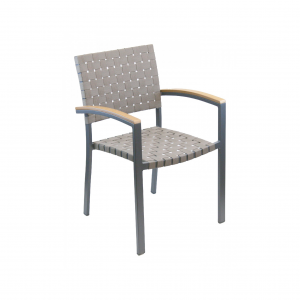 Cross Strapped Dining Chair with Arms