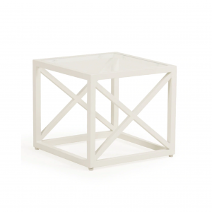 "Melbourne 17.5"" Square Stool W/ Glass"