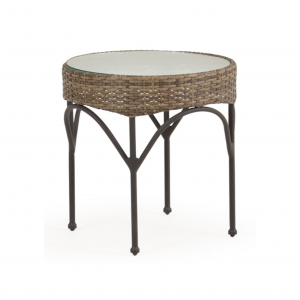 Largo Round End Table with Glass Top