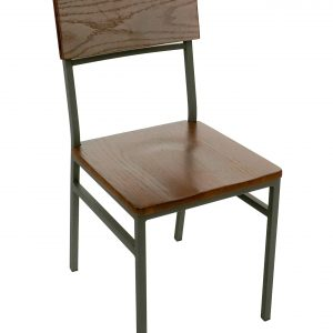 Metal Frame Wood Seat Dining Chair