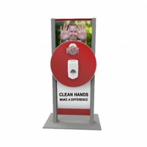 Double Post Mount Double-Sided Hand Sanitizer Station